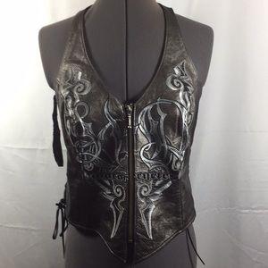 Harley Davidson Leather Halter Vest Size Medium